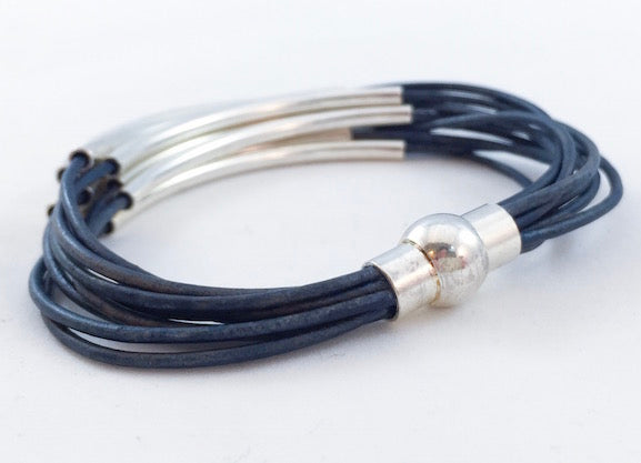 Leather Tube Bracelet - Silver Tubes - Denim Blue - Medium