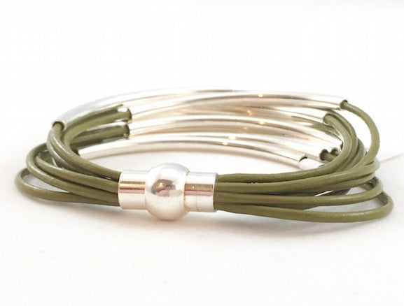 Leather Tube Bracelet - Silver Tubes - Olive Green - Small