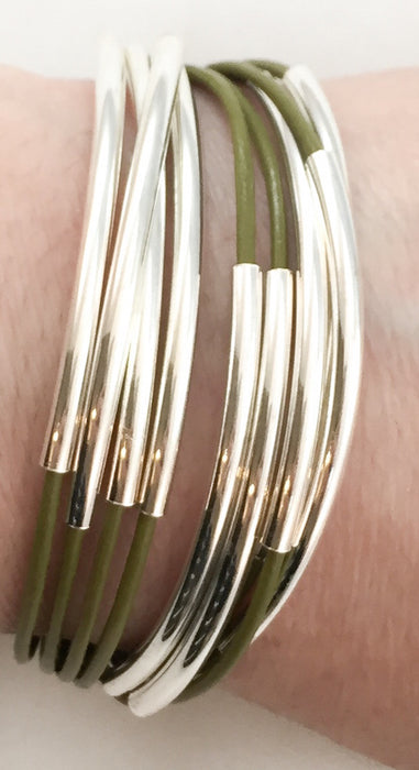 Leather Tube Bracelet - Silver Tubes - Olive Green - Medium