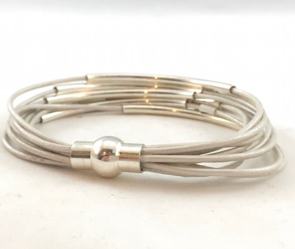 Leather Tube Bracelet - Silver Tubes - Pearl - Medium