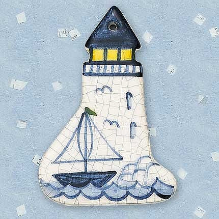 Ornament - Lighthouse with Sailboat