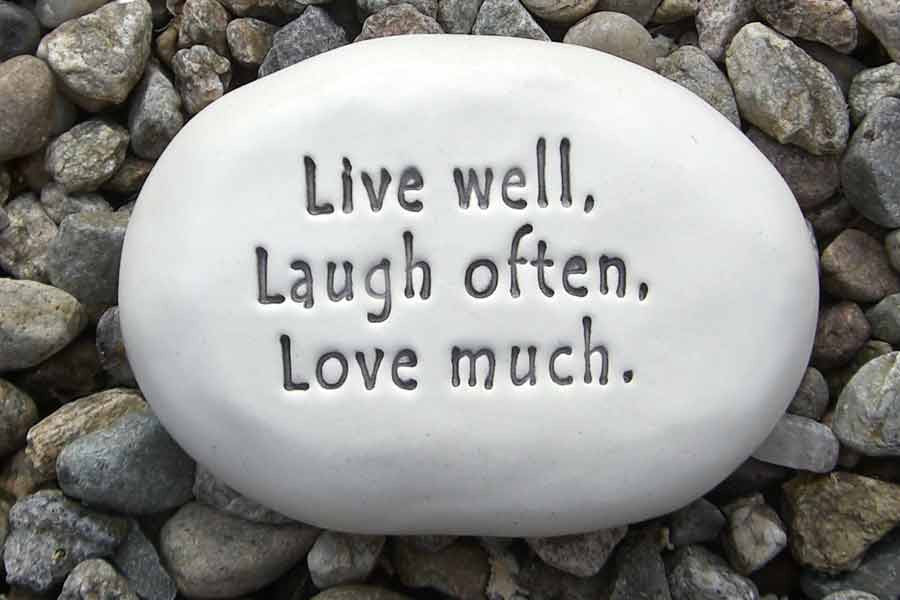 Ceramic Garden Stone - Live well, Laugh often, Love much.