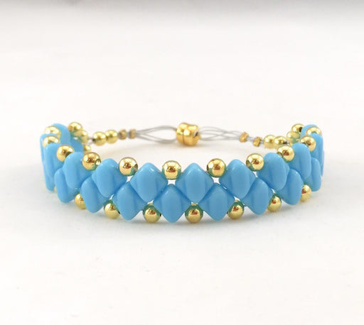 Magnetic Bracelet - Light Blue Square and Gold Beads