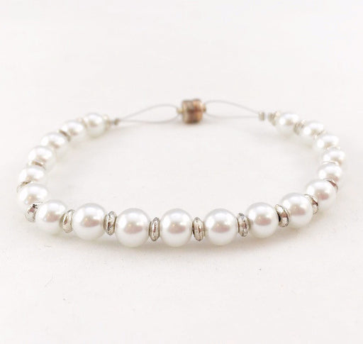 Magnetic Bracelet - Pearl and Silver Beads