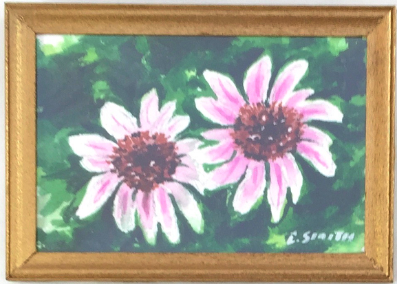 Original - Miniature - 2x3 - Watercolor - Cone Flowers