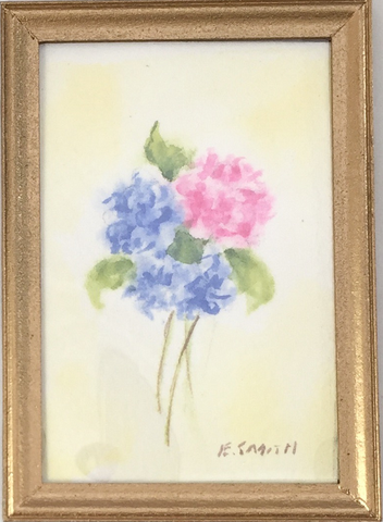 Original - Miniature - 2x3 - Watercolor - Pink and Blue Hydrangeas