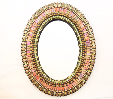 Oval mosaic mirror in Melon Bronze