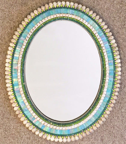 Oval mosaic mirror in Teal