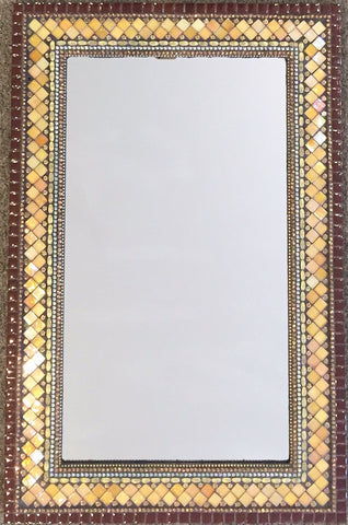 Rectangle mosaic mirror in brick chocolate