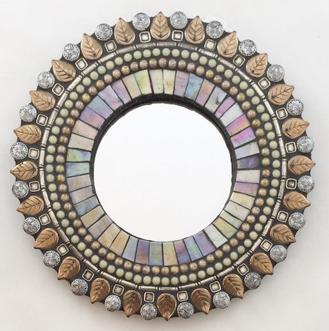 "Round 7"" mosaic mirror in pearl daisy"
