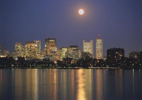 Glitter Photo Card - Moon Over Downtown Boston