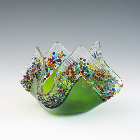 Glass Votive - Moss Green
