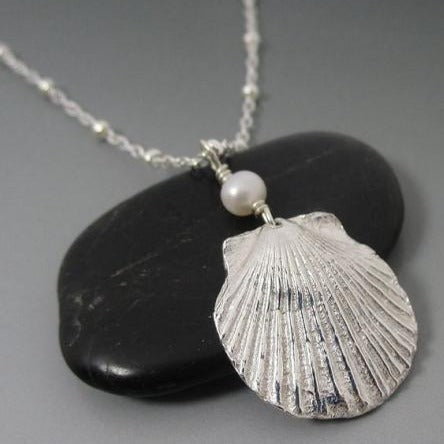 Necklace - Fine Silver PMC Shell with Freshwater Pearl SS