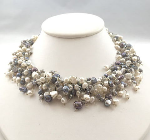 Necklace - Freshwater Pearl-200Pearls - White and Grey