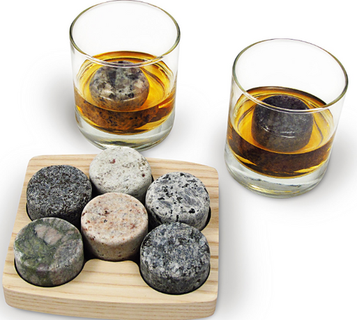 On the Rocks - Whiskey Chilling Stones with Hardwood Tray and Tumblers