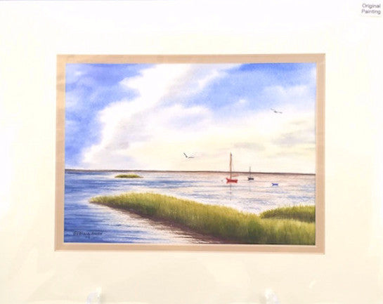 Original - 11x14 - Watercolor - Paine's Creek Sailboats - Tan Matte