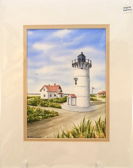 Original - 11x14 - Watercolor - Race Point Light - Tan Matte
