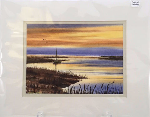 Original - 11x14 - Watercolor - Sunset on the Bay - Off White Matte