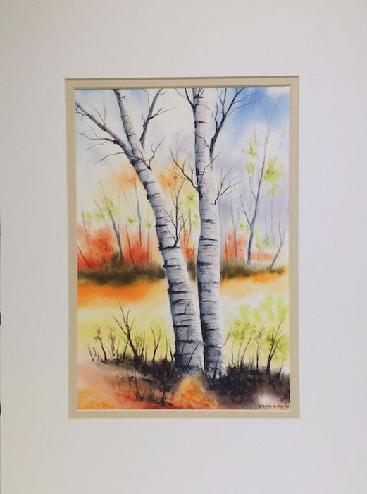Original - 12x16 - Watercolor - Fall Birches - Tan Matte