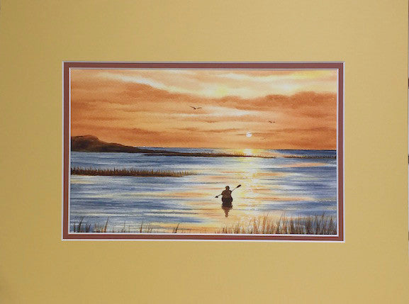 Original - 12x16 - Watercolor - Into the Sunset - Orange/Burgundy Matte