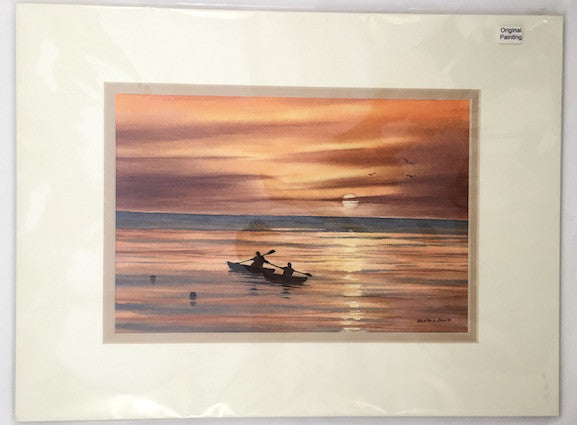 Original - 12x16 - Watercolor - Kayakers Sunset - Tan Matte