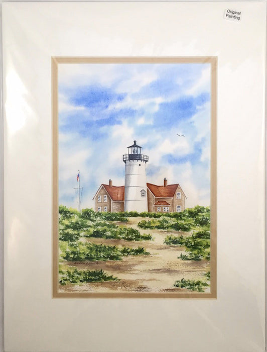 Original - 12x16 - Watercolor - Nobska Light - Tan Matte