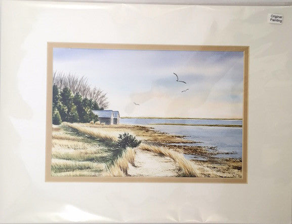 Original - 12x16 - Watercolor - Salt Pond - Eastham - Tan Matte