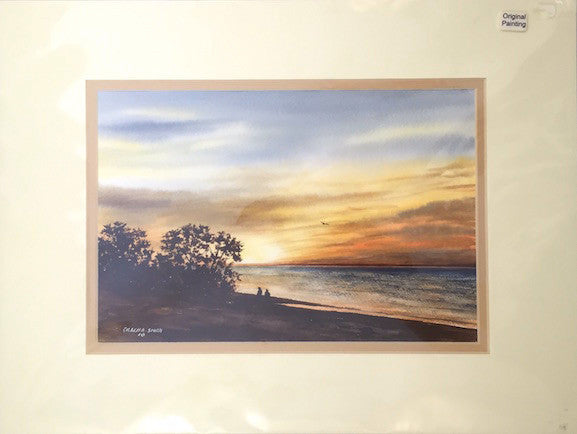 Original - 12x16 - Watercolor - Skaket Sunset - Tan Matte