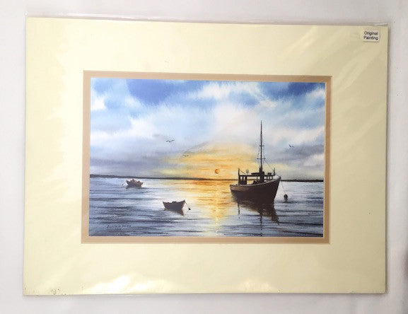 Original - 12x16 - Watercolor - Sunrise - Chatham - Tan Matte