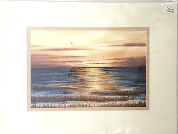 Original - 12x16 - Watercolor - Sunset on the Bay - Tan Matte