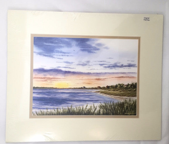 Original - 14x17 - Watercolor - Bayside Sunset - Tan Matte