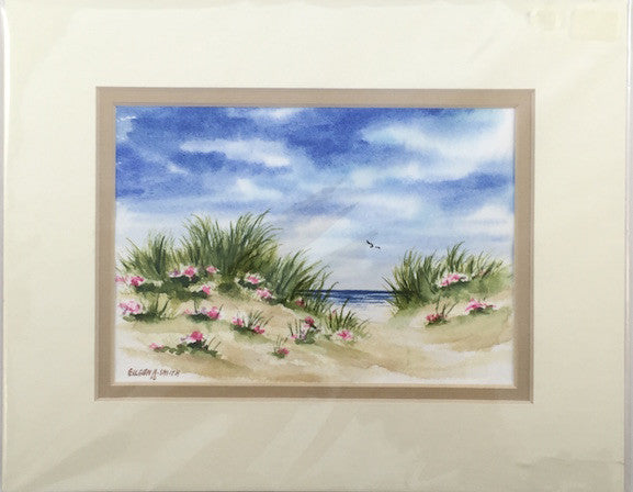 Original - 8x10 - Watercolor - Beach Roses #2 - Tan Matte