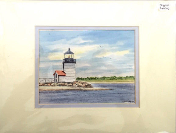 Original - 9x12 - Watercolor - Brant Point Light - Light Blue Matte