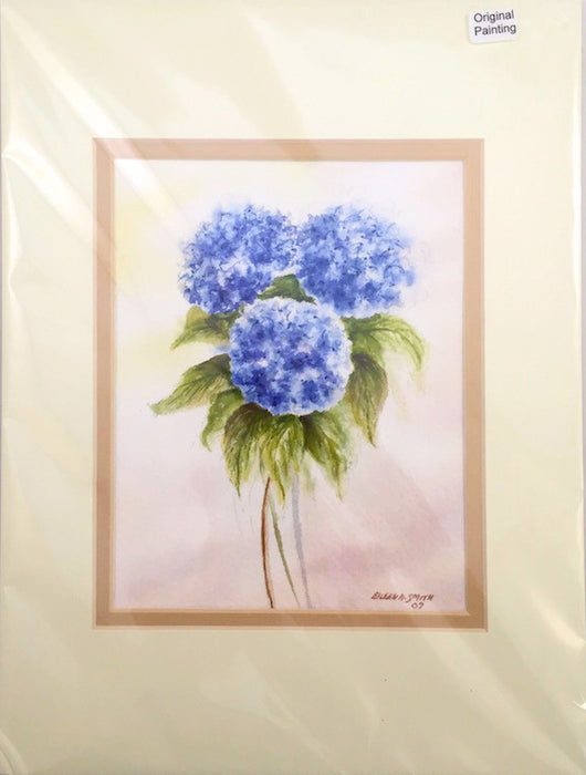 Original - 9x12 - Watercolor - Hydrangea Bouquet-Blues - Tan Matte