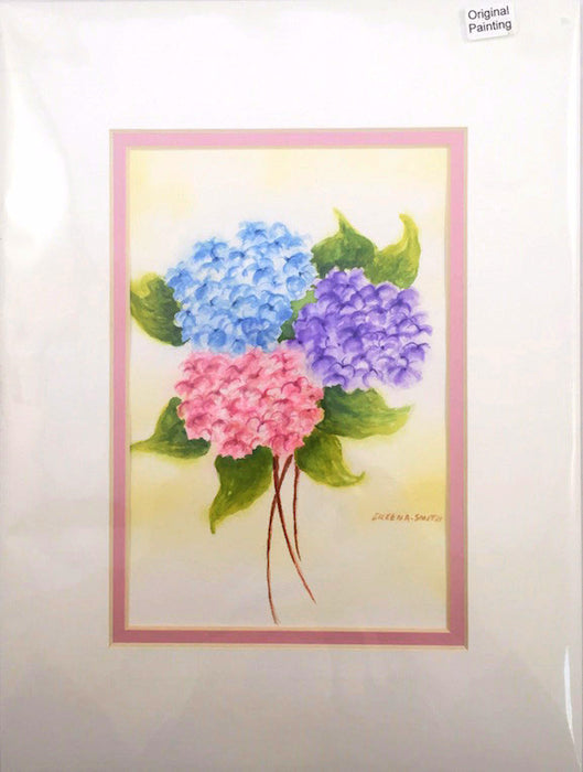 Original - 9x12 - Watercolor - Hydrangea Bouquet-Pinks, Blues and Purples - Rose Matte