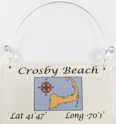 Crosby Beach ornament with coordinates
