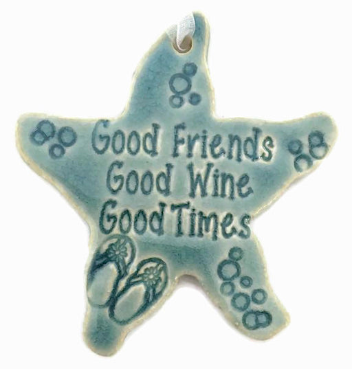 Ornament - Good Friends, Good Wine, Good Times - Green