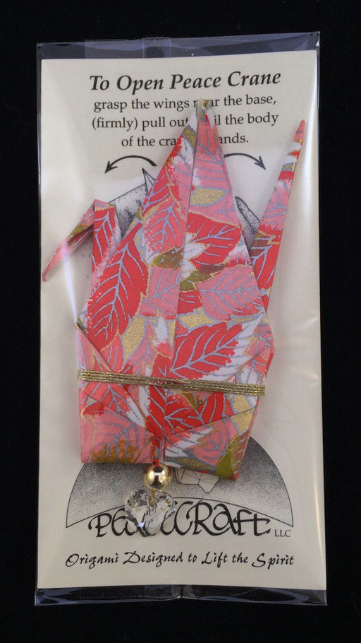 Peace Crane - Red/Pink/Gold - Leaves - C19