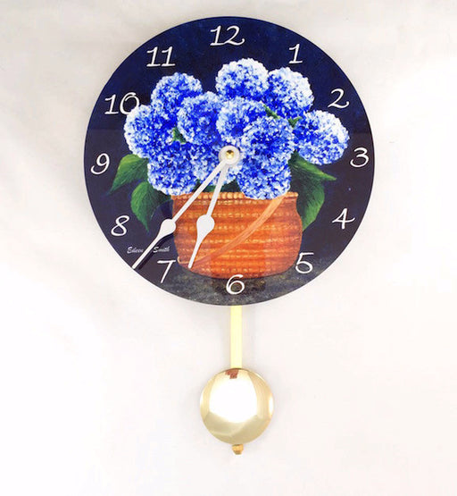Pendulum Clock - Wall Hanging - Blue Hydrangeas