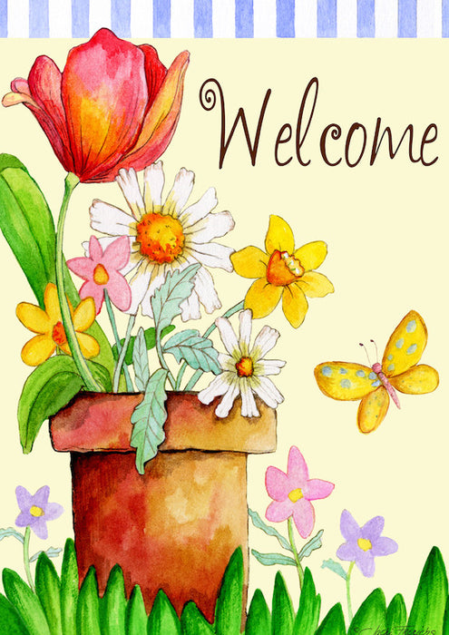 Garden Flag - Potted Welcome - 112575