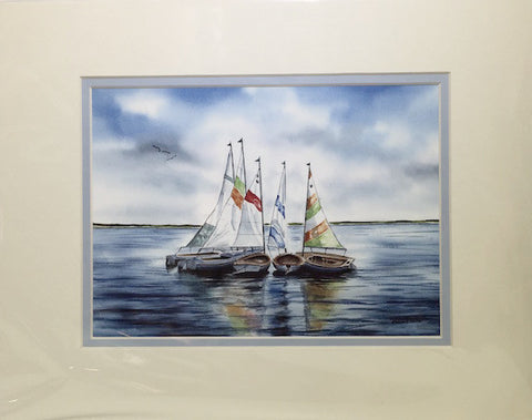 Print - 11x14 - Circle of Sails - Light Blue Matte
