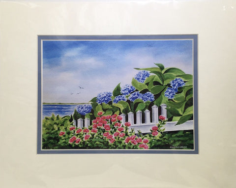 Print - 11x14 - Hydrangeas and Roses - Blue Matte