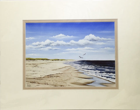 Print - 11x14 - Nauset Beach Two Gulls - Tan Matte
