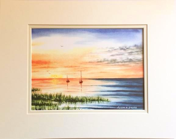 Print - 11x14 - Sunset Sailboats at Rest - Off White Matte
