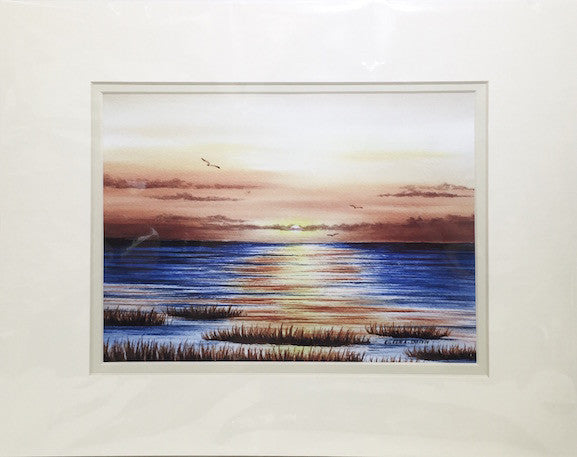 Print - 11x14 - Sunset on the Bay - Off White Matte