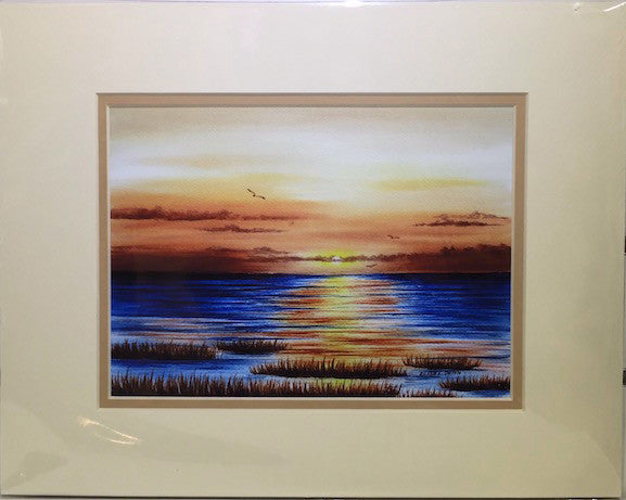 Print - 11x14 - Sunset on the Bay - Tan Matte