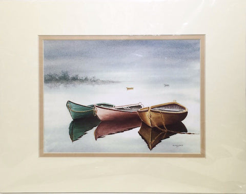 Print - 11x14 - Three Dinghys - Tan Matte