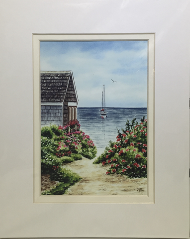 Print - 8x10 - Beach Roses and Sailboat - Off White Matte