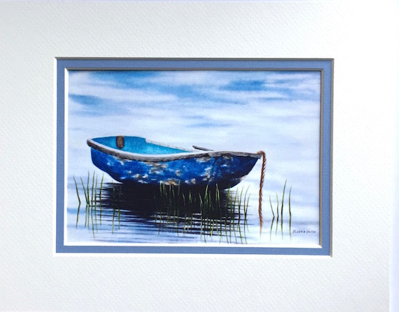 Print - 8x10 - Blue Rowboat at Dawn - Blue Matte