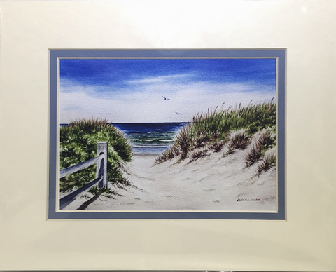 Print - 8x10 - Coast Guard Beach Fence - Blue Matte
